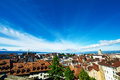 Skyline of lausanne losanna city switzerland Stock Photos