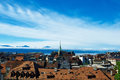 Skyline of lausanne losanna city switzerland Royalty Free Stock Images