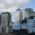 Skyline of London Docklands Stock Photo