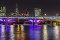 Skyline of London by night Royalty Free Stock Photo