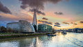 The skyline of london at southwark along river thames Stock Photo
