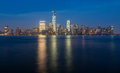 Skyline of lower manhattan at night new york city from exchange place with world trade center full height feet may Royalty Free Stock Photography