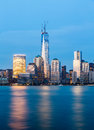 Skyline of lower manhattan at night new york city from exchange place with world trade center full height feet may Royalty Free Stock Images
