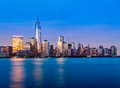 Skyline of lower manhattan at night new york city from exchange place with world trade center full height feet may Stock Image