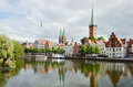 Skyline of lubeck city the medieval in northern germany Stock Photos
