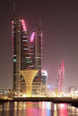 Skyline of Manama at night. Bahrain Stock Photography