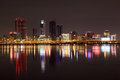 Skyline of manama at night bahrain middle east Stock Photography