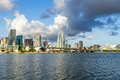Skyline of miami florida with the water biscayne bay panoramic the world famous travel location Royalty Free Stock Image