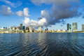 Skyline of miami florida with the water biscayne bay panoramic the world famous travel location Royalty Free Stock Photography