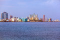 Skyline of modern Havana and Caribbean sea, Cuba Royalty Free Stock Photo