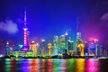 Skyline night view on pudong new area shanghai from bund waterfront the business quarter of the Royalty Free Stock Photography