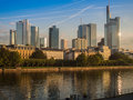 The skyline ogf Frankfurt, Germany, in the morning Royalty Free Stock Photo