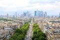 Skyline of Paris city towards La Defense district Royalty Free Stock Photo