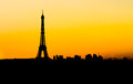 Skyline Of Paris At Sunset Royalty Free Stock Image