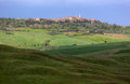 Skyline of pienza with clouded sky val d orcia tuscany italy in Royalty Free Stock Photography