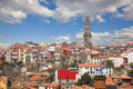 Skyline of porto portugal with red tiled roofs old town Stock Image