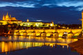 Skyline of Prague with Charles bridge at night Royalty Free Stock Photo