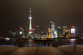 Skyline of pudong at night shanghai china Stock Photo