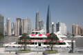 Skyline of pudong shanghai cruising ship and china Stock Photo