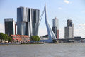 Skyline of Rotterdam with Erasmus bridge Royalty Free Stock Photo