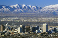 Skyline of Salt Lake City, UT with Snow capped Wasatch Mountains in background Royalty Free Stock Photo