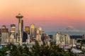 Skyline Seattle and Mount Rainier at Sunset Royalty Free Stock Photo