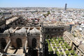 Skyline of Seville and Cathedral of Seville -- Cathedral of Saint Mary of the See, Andalusia, Spain Royalty Free Stock Photo