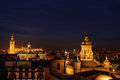 Skyline of Seville by night Royalty Free Stock Photo