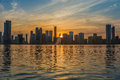 Skyline sharjah uae do por do sol Imagem de Stock Royalty Free