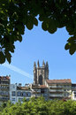 Skyline of Swiss city Fribourg and cathedral tower Royalty Free Stock Photo