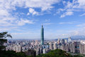 Skyline of taipei city view with under a clear blue sky Stock Photo