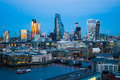 Skyline twilight with City of London skyscrapers and office buil Royalty Free Stock Photo