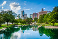 The skyline of uptown charlotte and lake at marshall park in u north carolina Royalty Free Stock Photos
