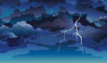 Skyscape with clouds and lightning. Royalty Free Stock Photo