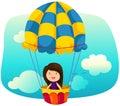 Skyscape girl riding hot air balloon Royalty Free Stock Photo