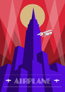 Skyscraper and airplane poster in art deco style. Vintage travel illustration