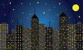 Skyscraper city at night big skyline of skyscrapers with moon and stars Royalty Free Stock Photo