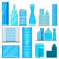 Skyscraper high buildings tower office, city architecture house business development apartment vector illustration