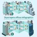 Skyscraper offices infographics with d isometric high buildings and charts vector illustration Royalty Free Stock Photography