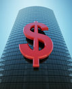 Skyscraper with red dollar sign Royalty Free Stock Image
