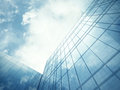Skyscraper s blue glass wall clean of modern Royalty Free Stock Photography