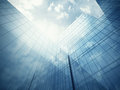 Skyscraper s exterior with blue glass walls clean wall of modern Stock Image