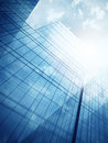 Skyscraper s exterior with blue glass walls clean wall of modern Royalty Free Stock Images