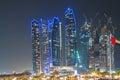 Skyscrapers in Abu Dhabi at night
