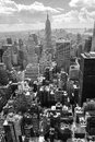 Skyscrapers. Aerial view of New York City, Manhattan. Black and white