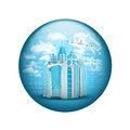 Skyscrapers with airplane. Spherical glossy button Royalty Free Stock Photo