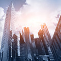 Skyscrapers blue business background with Stock Image