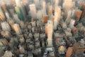 Skyscrapers blurred view of manhattan new york Stock Image