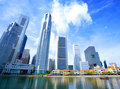 Skyscrapers in business district of Singapore. Royalty Free Stock Photo