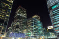 Skyscrapers of Canary Wharf by night, London, UK Royalty Free Stock Photo